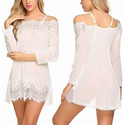Avidlove Womens Sleepwear White Size Medium M Babydoll Lace Tank V-Neck
