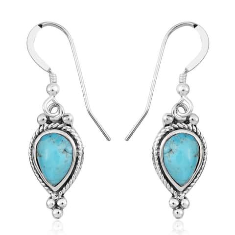 925 Sterling Silver Blue Kingsman Turquoise Drop Dangle Earrings - Medium