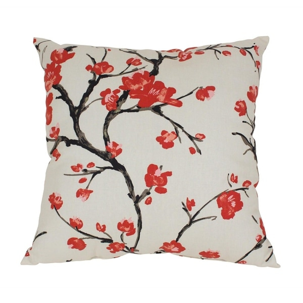 """23"""" Eco-Friendly Virgin Recycled Decorative Cherry Blossom Throw Pillow - Beige"""
