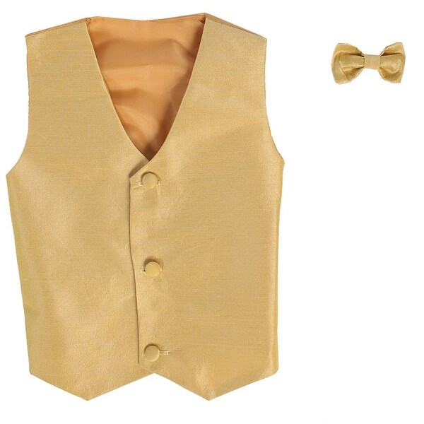 Baby Boys Gold Poly Silk Vest Bowtie Special Occasion Set 3-24M