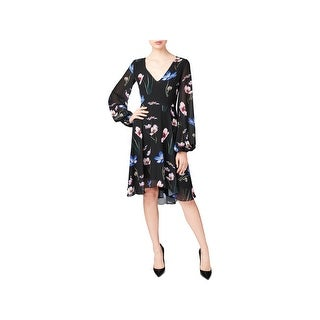Betsey Johnson Womens Cocktail Dress Floral Print Knee-Length