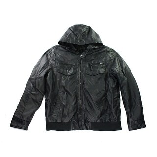 INC NEW Black Mens Size Small S Croydon Faux Leather Hooded Jacket