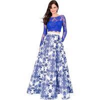 Terani Couture Lace Prom Crop Top Dress
