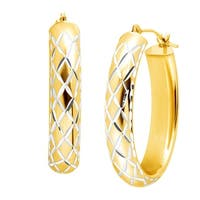 Oval Criss-Cross Hoops in 14K Gold-Bonded Sterling Silver - YELLOW