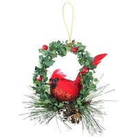 "5.25"" Red and Black Glittered Cardinal in a Holly Wreath Christmas Ornament - Green"