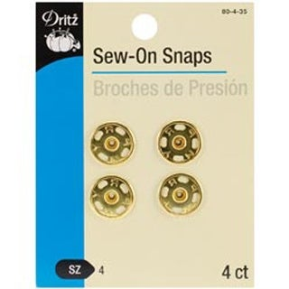 Size 4 4/Pkg - Gold Sew-On Snaps