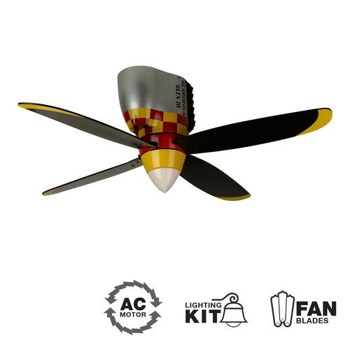 "Craftmade Glamorous Glen Youth Fans 48"" 4 Blade Flush Mount Indoor Ceiling Fan - Blades and Light Kit Included"