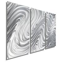 Statements2000 Silver 3 Panel Metal Wall Art Sculpture by Jon Allen - Hypnotic Sands 3P
