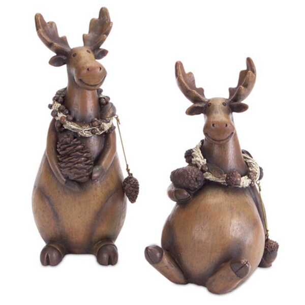 Pack of 4 Whimsical Plump Moose with Pine Cones Christmas Decorative Figures 10""