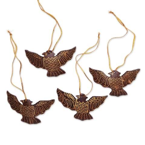 Novica Handmade Sacred Doves Coconut Shell Ornaments (Set Of 4)