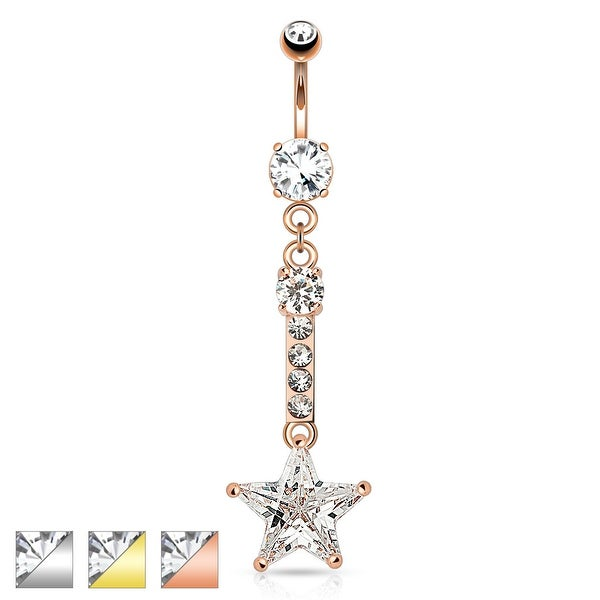 Star CZ Dangle with Clear CZ Top 316L Surgical Steel Navel Ring