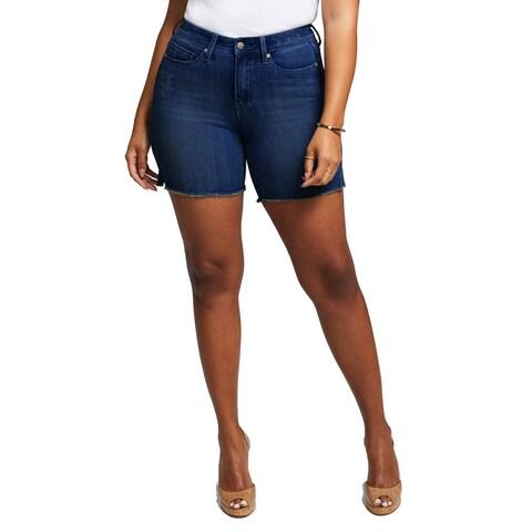 NYDJ Blue Women's Size 12 Frayed Hem Shape Boost Denim Shorts