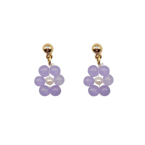 Lavender Jade Earrings on Gold Ball Studs - Daisy Style