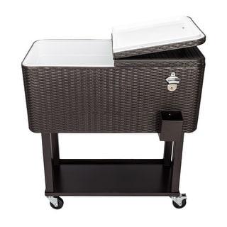 80QT Rattan Square Legs Cooler with Shelf