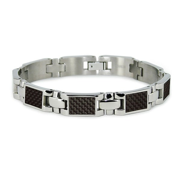 Titanium Men's Link Bracelet with Black Carbon Fiber Accents (10mm Wide) 7.75 Inches