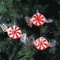 Set of 10 Peppermint Twist Red and White Candy Christmas Lights - Green Wire