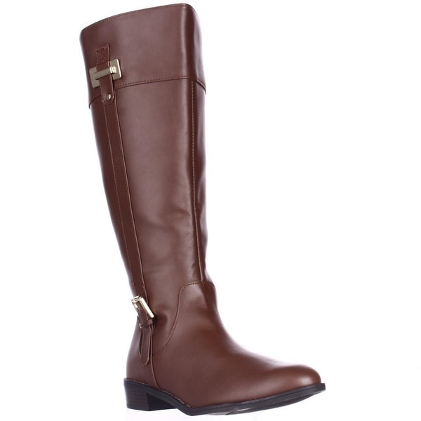 KS35 Deliee Flat Knee-High Boots, Cognac