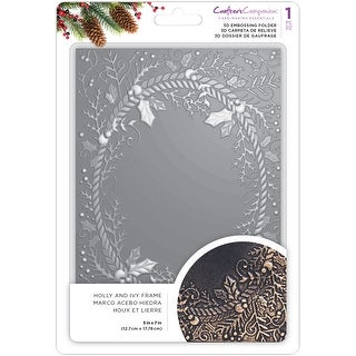 """Crafter's Companion 3D Embossing Folder 5""""X7""""-Holly & Ivy"""