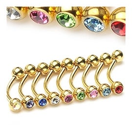 "{Clear} Gold Plated Eyebrow Piercing with Gemmed Ball Ends - 16GA 3/8"" Long (4mm Ball) (Sold Ind.)"