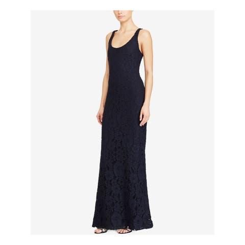 RALPH LAUREN Womens Navy Lace Floral Sleeveless Scoop Neck Full Length Sheath Evening Dress Size: 6