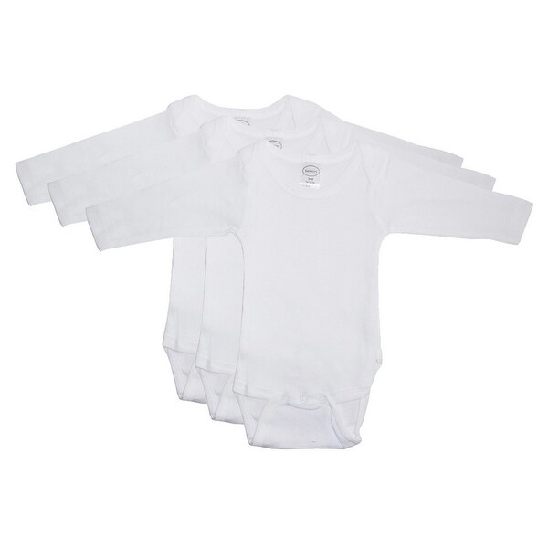 Bambini Baby Unisex White Cotton Long Sleeve 3-Pack Bodysuits