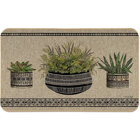 """Natural Linen Look Decorative Low Profile Indoor/Outdoor Floor Mat with Recycled Rubber Back, Mud Cloth Pot, 29.5"""" x 17.75""""."""