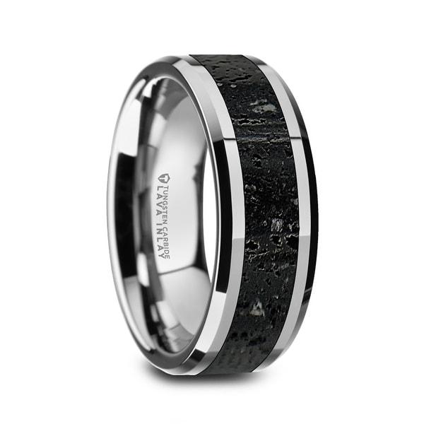 Thorsten Mens Polished Tungsten Wedding Band Lava Rock Stone Inlay 8mm Kilauea