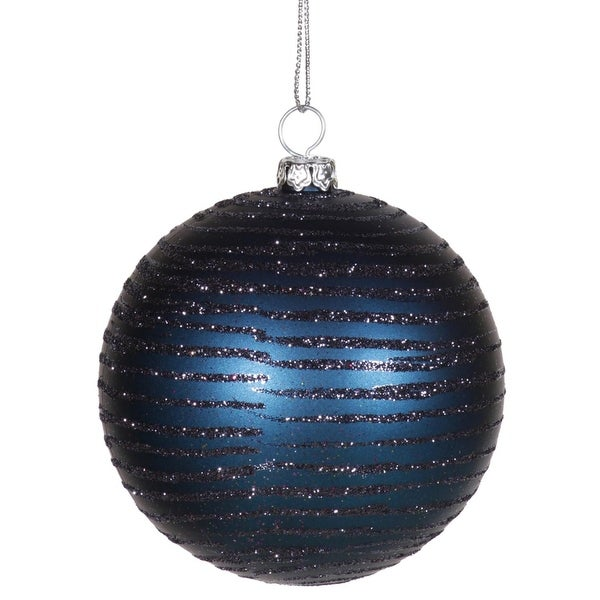 "Sea Blue Glitter Striped Shatterproof Christmas Ball Ornament 3"" (75mm)"