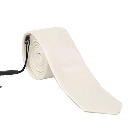 Dolce & Gabbana White Silk Solid Slim Men's Tie - One Size