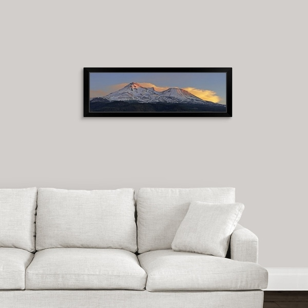 """Low angle view of a snow covered mountain, Mt Shasta, Siskiyou County, California"" Black Framed Print"