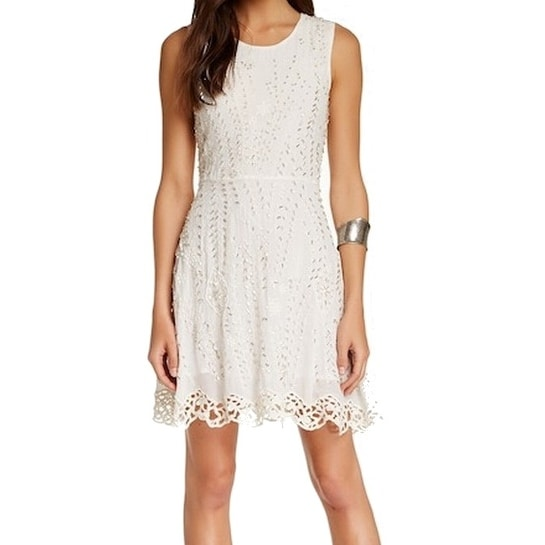 999275ee4 Shop Free People NEW White Women s Size 8 Sheath Embellished Crochet Dress  - Free Shipping On Orders Over  45 - Overstock - 19736607