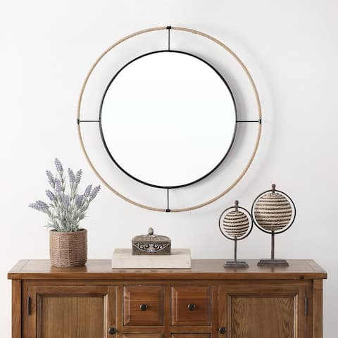 """SAFAVIEH Demson Boho 22-inch Round Wall Accent Mirror - 19.3"""" x 2"""" x 19.3"""""""