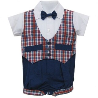 Baby Boys Blue Red Plaid Bowtie Short Sleeve One-piece Bodysuit 3-9M