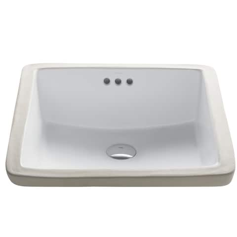 Kraus Elavo 17 in Square Porcelain Ceramic Undermount Bathroom Sink