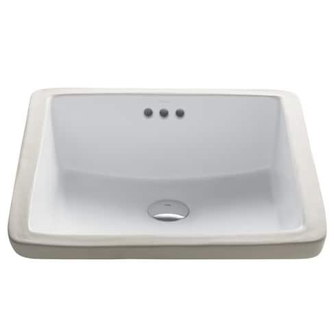 Kraus Elavo 17 in Square Porcelain Ceramic Undermount Bathroom Sink