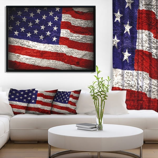 Designart 'Large American Flag Watercolor' Abstract Framed Canvas Artwork Print. Opens flyout.