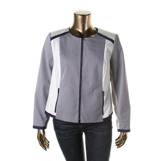 Jones New York Womens Plus Colorblock Zipper Front Blazer - 16W