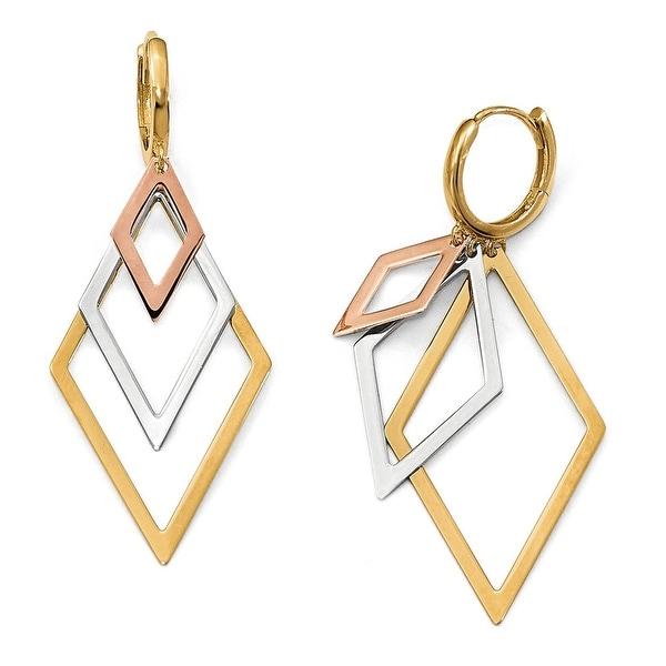 14k Tri-Color Gold Earrings