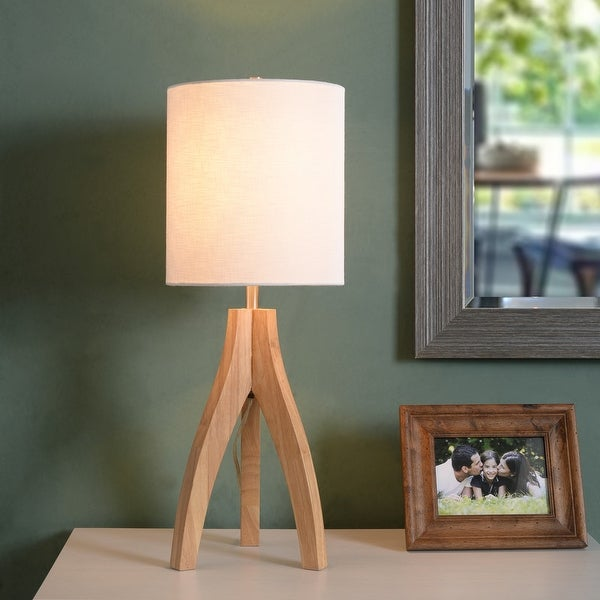 Nicole Natural 3-way Wood Tripod Table Lamp. Opens flyout.