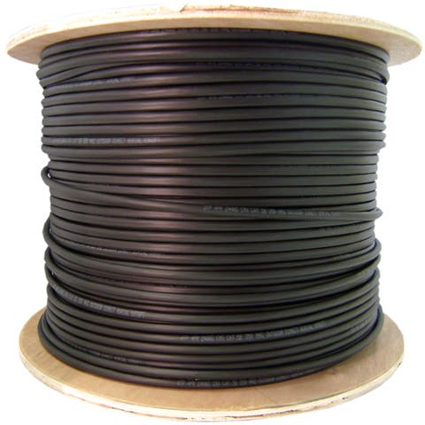 Offex Direct Burial/Outdoor rated Cat6 Black Ethernet Cable, Solid, CMXT Foil Waterproof Tape, 23 AWG, Spool, 1000 foot