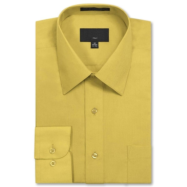 Shop Black Friday Deals On Jd Apparel Mens Long Sleeve Regular Fit Solid Dress Shirt Lemon Size 16 0 16 Overstock 28882313