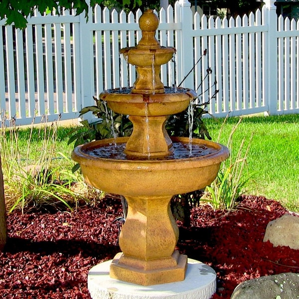 Sunnydaze Tropical 3-Tier Electric Outdoor Garden Water Fountain - 40-Inch