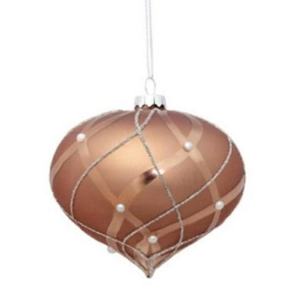 "4"" Matte Satin Mousse Brown Shiny & Silver Glittered Contoured Plaid Pearl Accented Glass Onion Christmas Ornament"