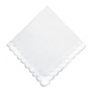 CTM® Women's Nosegay Hand Made Bobbin Lace Linen Handkerchief - White - One Size