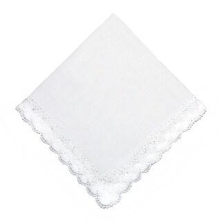 CTM® Women's Nosegay Hand Made Bobbin Lace Linen Handkerchief
