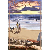Pacific City, OR - Sunset Beach Scene - LP Artwork (100% Cotton Towel Absorbent)