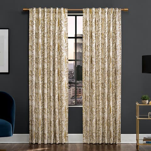 Scott Living Aubry Shimmering Floral Total Blackout Back Tab Curtain Panel