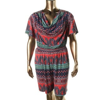 NY Collection Womens Plus Printed Short Sleeves Romper
