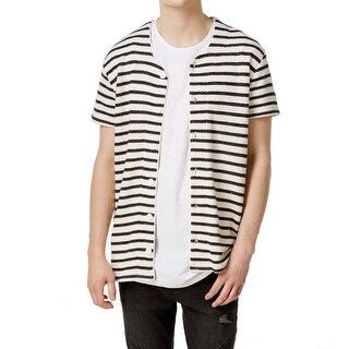 JAYWALKER NEW White Ivory Striped Mens Medium M Short Sleeve Cardigan