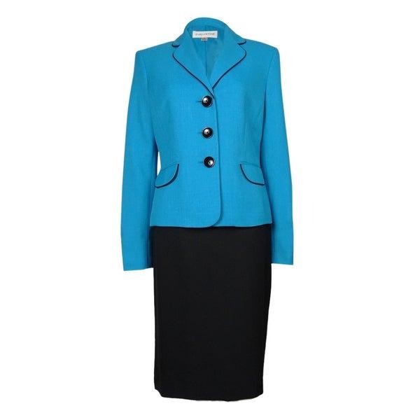 Evan Picone Women's Work Smart Three Button Skirt Suit - ocean/black